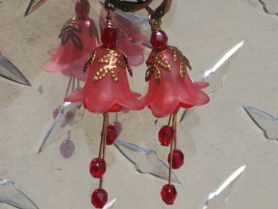 Dark Pink and Red Lily Flower Earrings
