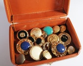 50% Off SALE 17 Vintage Nautical Themed, Gold and Navy Buttons