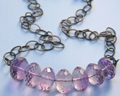 Chubby Amethyst Nuggets on Oxidized Sterling Silver Chain Necklace