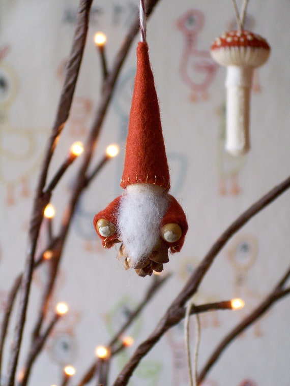 Custom listing for Chengbons - Wee Little Pine Cone Gnome- Red/Rust