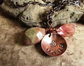Yoga and Lotus - Hand Stamped Copper Necklace with Cherry Quartz and Jasper