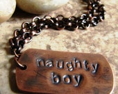 Naughty Boy - Hand Stamped Copper Necklace