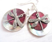 Custom Colors Double Shell Dragonfly Earrings