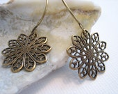 Round Filigree Earrings - Antiqued Brass - Gold Tone