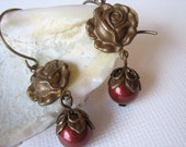 Rose and Swarovski Pearl Earrings - Vintage Patina - Antiqued Brass - Bordeaux Red