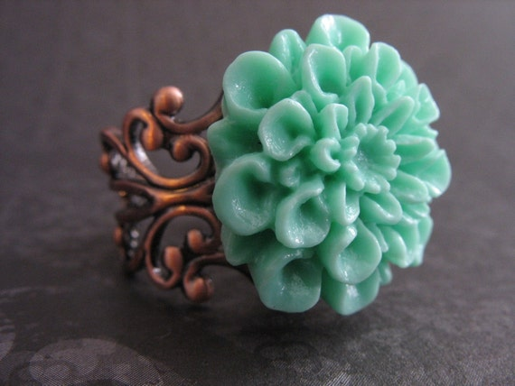 Antiqued Copper Ring with Sea Foam Dhalia - Filligree Ring - Flower RIng - Mint Green