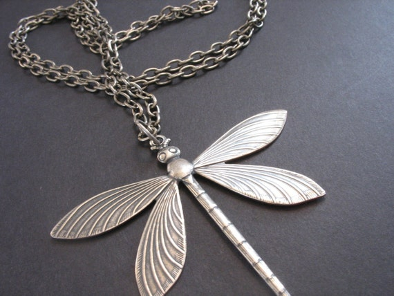 Victorian Dragonfly Necklace - Antiqued Silver - Extra Long