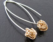 Silver and Gold Knot Dangle Earrings