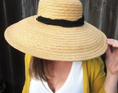 Vintage Straw Hat 1940s // Floppy Woven Sun Hat // 40s