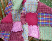 Crib Rag Quilt for Baby Girl - Bright Pinks
