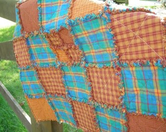 Crib Rag Quilt for Baby Boy in Flannel and Homespun - Rocking Horse
