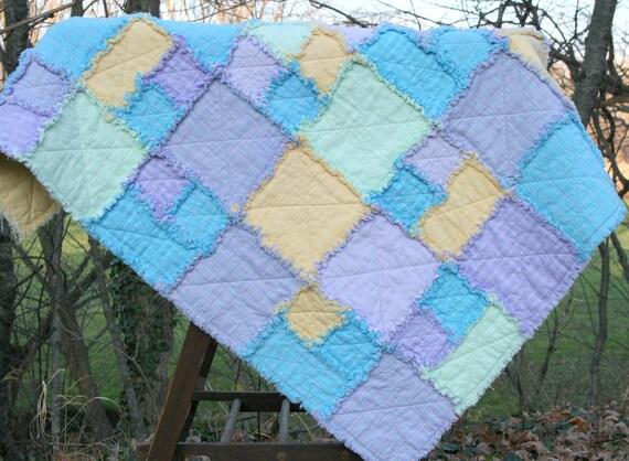 Baby Crib Rag Quilt - Pastels