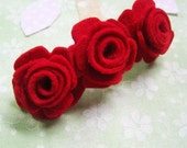 Red Wool Felt Roses French Barrette - Or Any Color