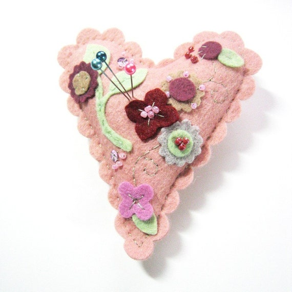 Wool Felt Flower Pincushion - Grapefruit Blush