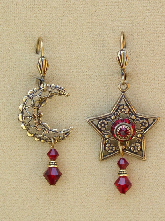 Unique Siam Ruby Red Swarovski Crystal Star and Moon Earrings Filigree and Celestial