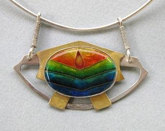 Flame - Cloisonne enamel necklace