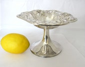 Art Nouveau BonBon Bowl Compote, Repousse Lily Design by Van Bergh Silver Plate Co.