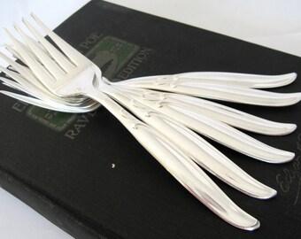 Vintage Salad Forks Sweep 1958 Pattern, Modern Silverplate Flatware Set of 6