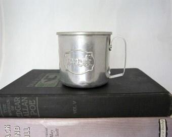 Antique Aluminum Baby Cup, Circus Parade Design