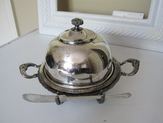 Antique Domed Butter Dish With Knife Rest Silver By