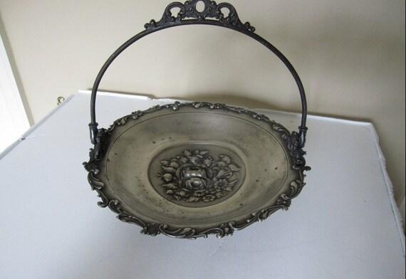 Vintage Victorian Bridal Basket, Silver Plate