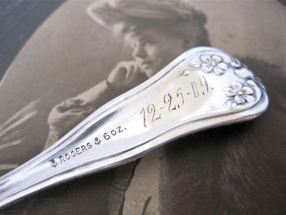 Antique Spoon A Monogram Engraved 12-25-09 Mayflower, 1901 Pattern by Rogers Silverplate, Christmas Spoon