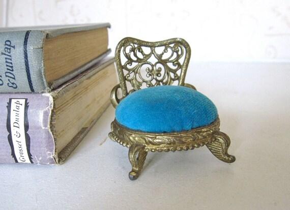 Vintage Pin Cushion Chair, Ornate Brass Design, Blue Velvet Seat Boudoir Chair Pincushion by Sam Fink signed SF