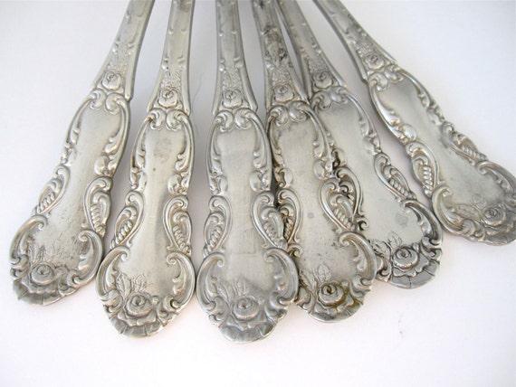 Antique Panama Silver Spoons, Art Nouveau Set of 6