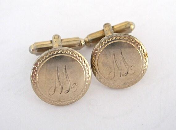Vintage M or W Monogrammed Cufflinks, Cuff Links