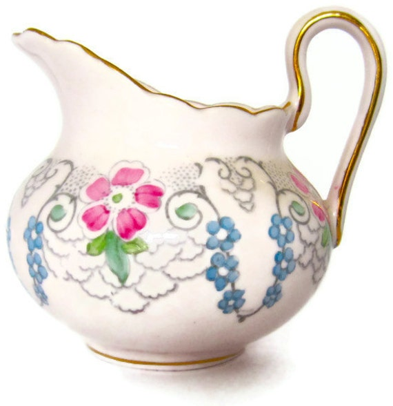 Vintage Pink Pitcher Creamer Tuscan Fine English Bone China