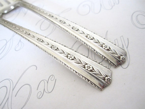 Pair of Antique Salad Forks, Art Deco Silverplate by Wallco