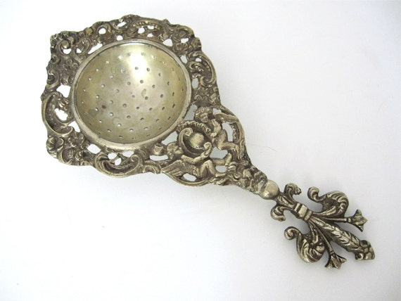 Antique Ornate Tea Strainer, Cherubs, Devil and Fleur De Lis, Italy