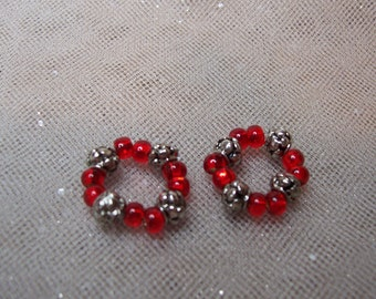 Red and Silver Nipple Rings-Fresh and Feminine -For those Little Buds-Mature