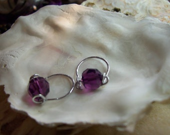 Hammered Sterling Silver and Purple  Faceted Rollerballs- Put on some Zing-