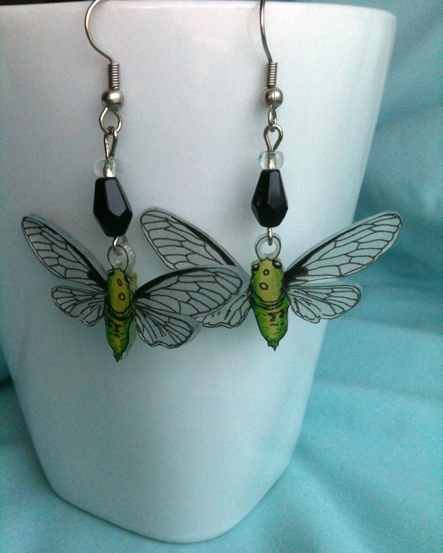 cicada bug earrings shrinky dinks
