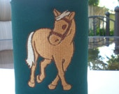 COZY Embroidered Horse and Heart Tan and Green can or water bottle holder