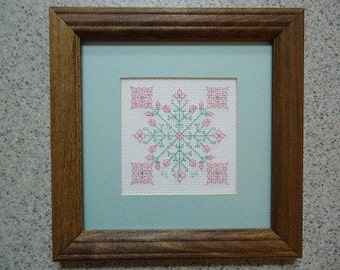 Pink and Green Celtic Flowers - Cross Stitch Picture - Wall Decor