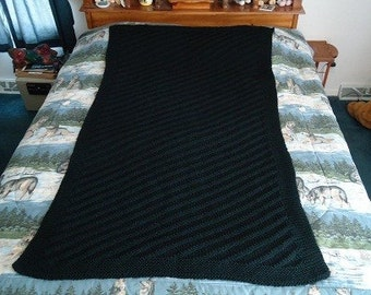 Black Hand Knitted Diagonal Stripe Afghan, Blanket, Throw - Home Decor