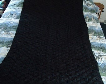 Black Hand Knitted Basketweave Afghan, Blanket, Throw - Home Decor - Shipping is Included