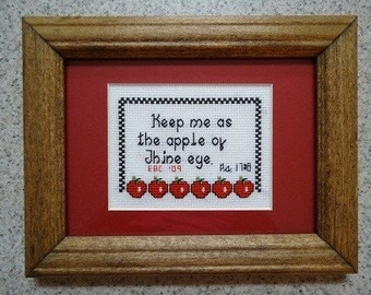 Apple of Thine Eye - Inspirational Cross Stitch Picture - Home Decor - Free Shipping