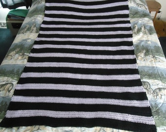 Hand Crocheted Black and Lilac Stripes Afghan - Blanket - Throw - Home Decor