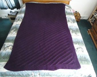 Deep Violet Hand Knitted Diagonal Stripe Afghan, Blanket, Throw - Home Decor
