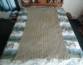 Taupe Hand Crocheted Trellis Afghan, Blanket, Throw - Home Decor