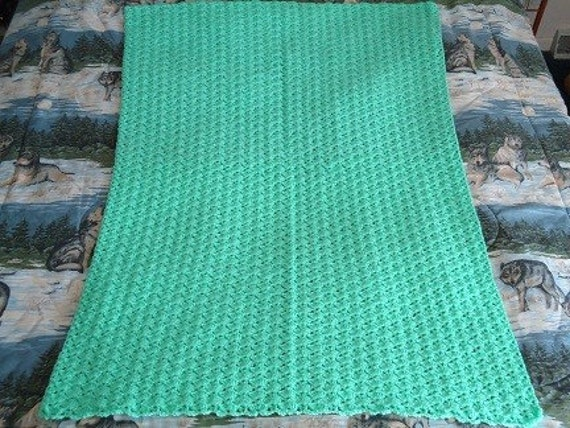 Small Mint Green Hand Crocheted Shells Afghan, Throw, Blanket - Home Decor
