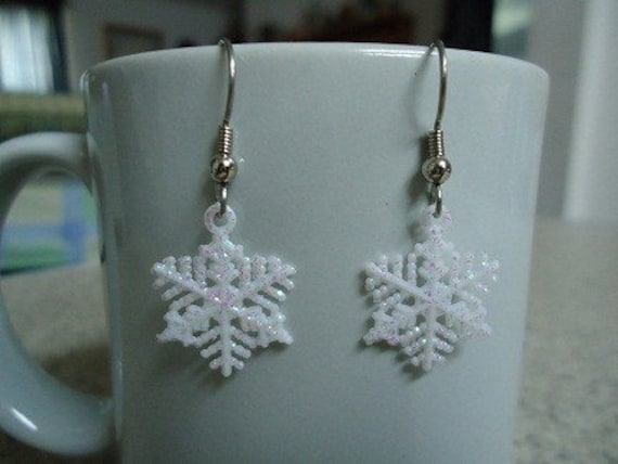 Small White, Glittery, Plastic Snowflake Earrings