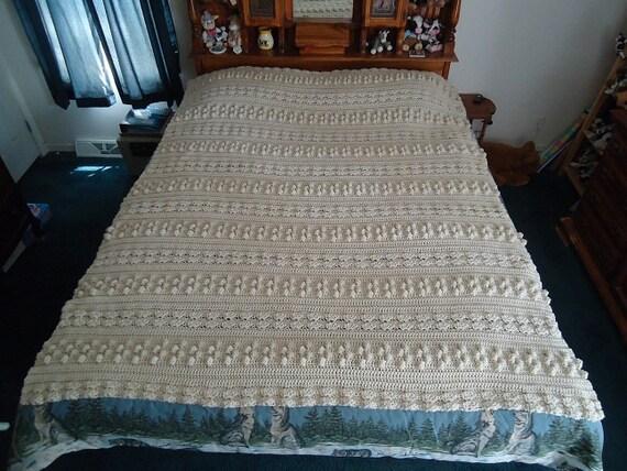 Custom Order for Jenn -Large Off White Triple Pattern Hand Crocheted Afghan, Blanket, Throw