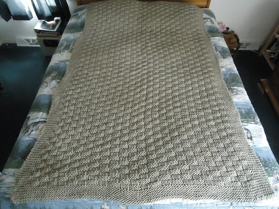 Taupe Hand Knitted Basketweave Afghan Blanket Throw Home
