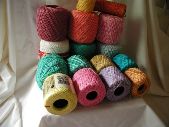 Lot 16 skeins Cotton Crochet Yarn