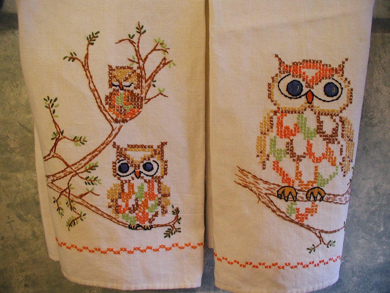 Vintage Hand Embroidered Tea Towels Owls