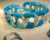ReCycladelic Upcycled Pop Tab Bracelet  Caribbean Blue in Variegated Blue Soda Can Pop Top Jewelry